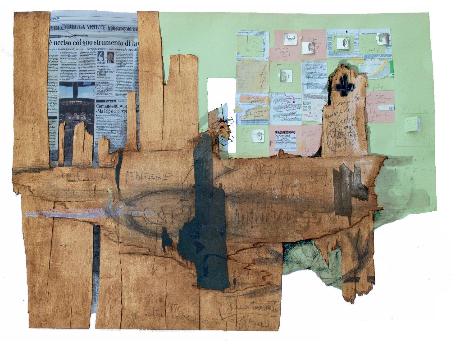 Gloria Veronica Lavagnini - Guardandosi attorno - Tecnica mista (collage di materiali e carte su tavola) -  80 x 100 x 4 cm. - 2018